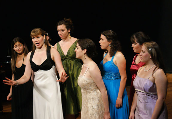 Tori Letzler, Lauren Schultes, Sarah Chasey (hidden behind Ms. Schultes), Clare FitzGerald, Kinneret Ely, JoAna Rusche, Emily Jensen, and Erin Schmura perform a delightful scene from L'Elisir d'amore - 2008.