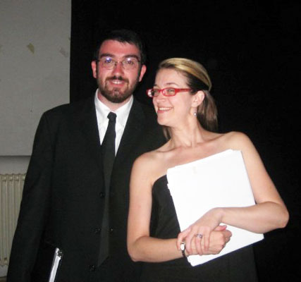 Pianists Rick Masters (Eastman) and Melony Maness (UT Knoxville) backstage at the Teatro Bramante - 2008.