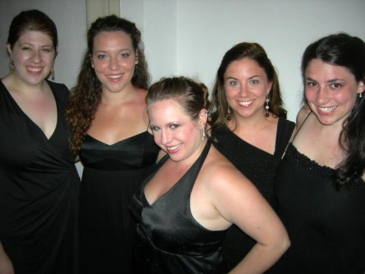 The glamorous ladies in black are Carly Rapaport-Stein, Clare FitzGerald, Kerri Lynn Slominski, Jessica Hall, and April Martin.