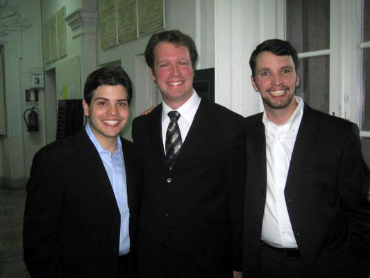 Alex Turpin, Lyndon Meyer, and Jordan Wells prepare for an aria concert at Centro Studi
