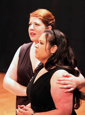 Carly Rapaport-Stein and Petra Šovcovová sing the sisters,  Fiordiligi and Dorabella.
