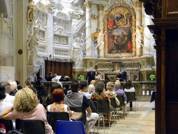 Jared Johnson, Evangeline Vournazos, Amanda Jones, and Thomas Riley perform a quartet from Haydn's L'ISOLA DISABITATA in Fossombrone's breathtakingly beautiful Chiesa San Filippo.