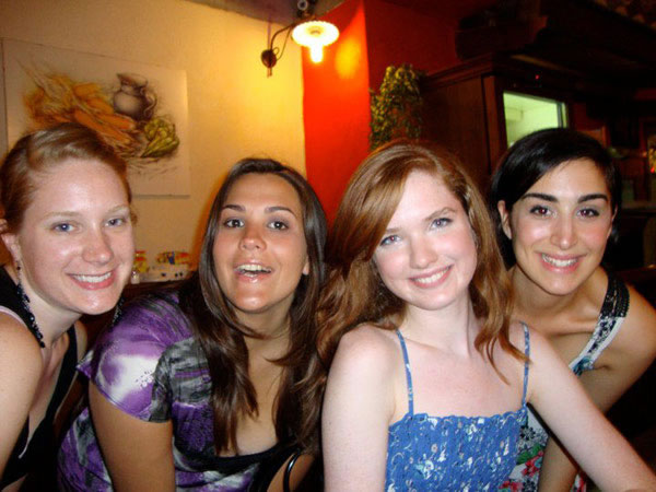 Emily Mills, Kayla Gautereaux, Robin Clifford, and Rachel Weishoff pose at a party at La Loggia.