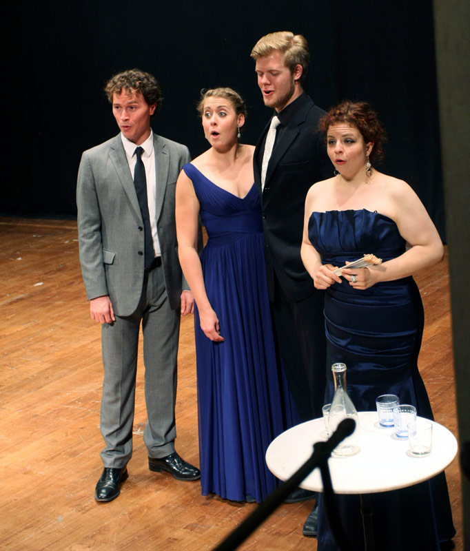 Eddie Garner, Adelaide Boedecker, Magnus Kjeldal, and Tiffany Nack delight the audience with a hysterically funny finale from Cimarosa's L'ITALIANA IN LONDRA.