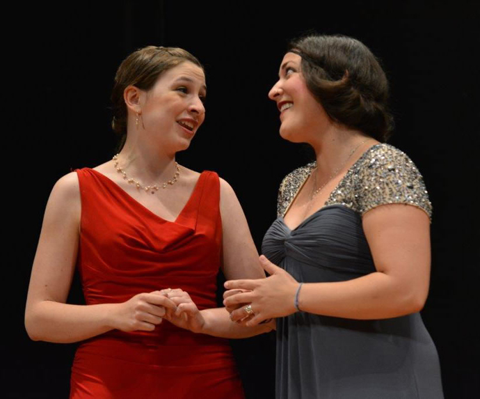 Naomi Brigell and Emma Doupe perform in Tetrao Bramante.
