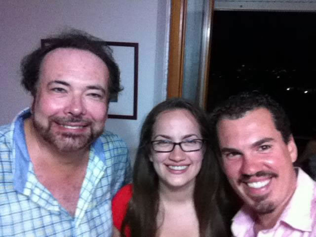 William Mouat, Lyndsey Boyer, and Raymond Storms take a rehearsal break.