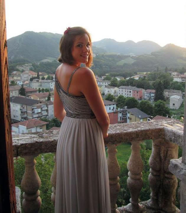 Rachel Rohe looks down on the city of Piobbico before the concert at the Castello Brancaleoni.