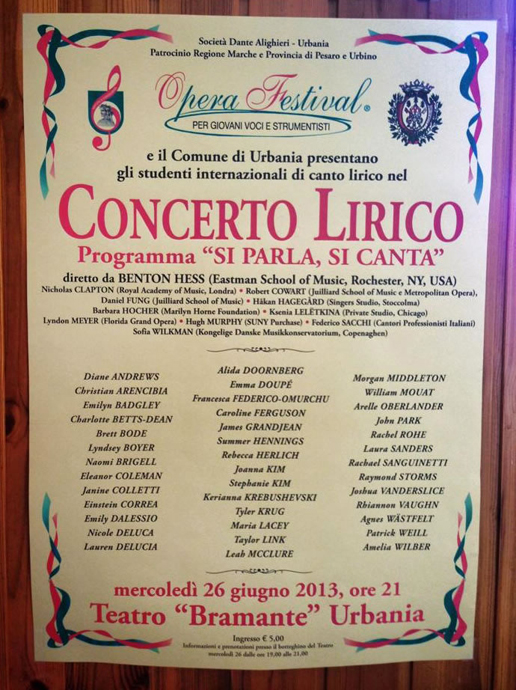 The Teatro Bramante poster for 2013