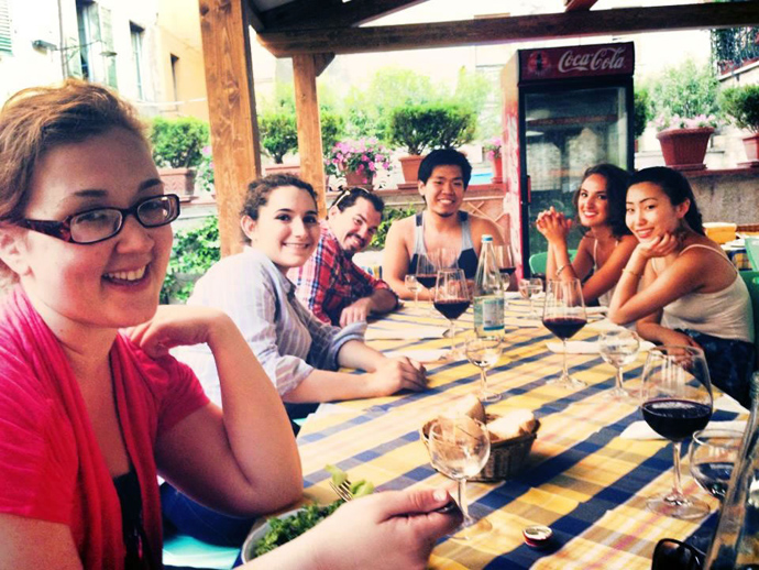 Amelia Wilber, Emily Dalessio, Raymond Storms, John Kun Park, Maria Lacey, and Stephanie Kim grab a quick bite of lunch while on excursion.