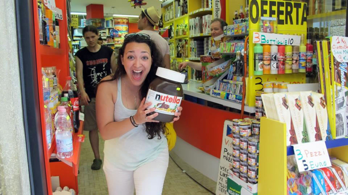 Emma Doupé discovers the large economy size jar of Nutella.