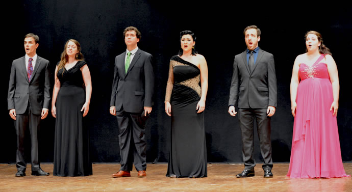 The DON GIOVANNI Sextet: Steven Humes, Sarah Bertrand, Anthony Baron, Alyssa Jackson, Matthew Cossack, and Gabrielle LaBare.