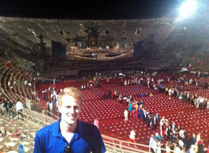 Timothy Lanigan poses for one last picture before leaving the production of TURANDOT at the Arena di Verona.